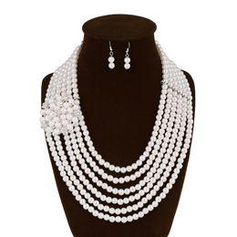 24k solid gold anhänger ketten Rabatt Neue Schmuck Sets Simulierte Perle Weibliche Mode Abendkleid Mit Schmuck Hohlraum Halskette Ohrringe Luxury Suite