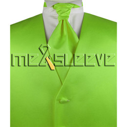 giarrettiera fiocco di gemelli di ascot Sconti Commercio all'ingrosso di vendita calda spedizione gratuita abiti firmati verde lime (gilet + cravatta ascot + gemelli + fazzoletto)
