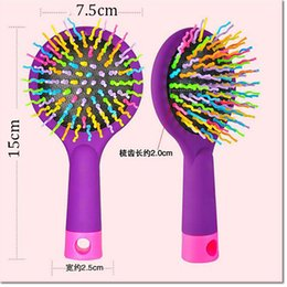 Wholesale Volume Hair Styles - 2016 Hot sell Rainbow Volume Anti-static Magic Detangler Hair Curl Straight Massage Comb Brush Styling Tools With Mirror