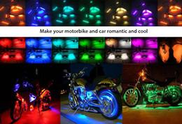 Nastri luminosi online-Luce di incandescenza della striscia flessibile della lampada dell'atmosfera del motociclo telecomandato multicolore 8pcs,