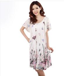 Wholesale Sexy Nightwear Wholesale - Wholesale-New Fashion Summer Plus Size Female Cotton Silk Women Nightwear Sleepwear Lounge Short Sleeve Floral Nightgown