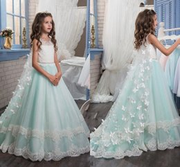 Wholesale Lace Butterfly Wedding Dress - Princess Christmas Flower Girls Dresses For Weddings Sleeveless Butterfly Appliques Beautiful Girls Pageant Dress With Wrap Kids Party Drees