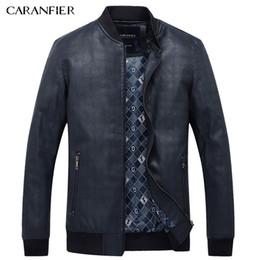 Wholesale Best Leather Coats - Wholesale- CARANFIER Men Simple PU Leather Jacket Men Super Soft Windproof Male Classic Tactical Cool Coat Best suitable for men M~XXXL