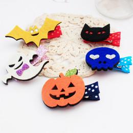 Wholesale Pumpkin Cats - 30pcs Fashion Cute Felt Halloween Girls Hairpins Solid Kawaii Glitter Ghost Bat Pumpkin Cat Hallowmas Hair Clips Party Headware