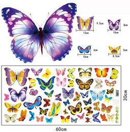 Wholesale Cupboard Stickers - Butterflies PVC transparent removable stickers wall sticker decorations stickers for home cellphone table pc cupboard window