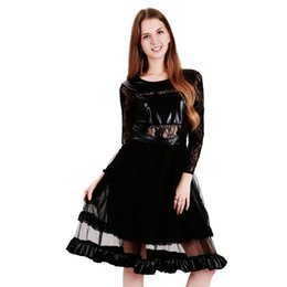 Wholesale Sexy Wetlook Dress - Elegant Vintage Wetlook Vinyl Leather Dress Robe Dentelle Women Black Lace Patchwork Long Sleeve A-Line Club Party Dress XXL WB009017