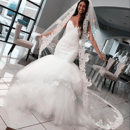 Wholesale Puffy Dresses For Women - Sexy Spaghetti Strap Tiered Puffy Mermaid Wedding Dresses Long Backless Lace Vestido De Noiva 2017 White Bridal Dress For Women