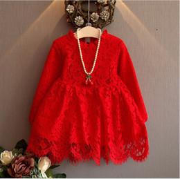 Wholesale Lantern Skirts Wholesale - 2016 New Autumn Girls Princess Dress Kids Long Sleeve Lace Dresses Children Lace Tulle Dress Baby Girl Red&White Tutu Skirts 5pcs lot