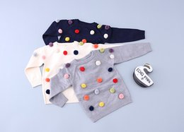 Wholesale Girl Dots Winter Coat - 3 Colors Ins New Baby Wool Long Sleeve Sweaters Girls Cotton Cute Lint Sweaters Pullover Infant Toddler Warm Jumper Coat Children Clothings