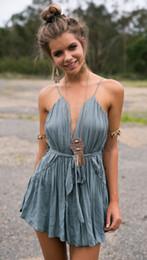 Vestido de noiva boêmio xl on-line-Primavera Verão Mulheres Moda Halter Azul Sexy Oco Out Bohemian Party Wedding Vacation Dress mini Frete Grátis