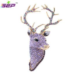 Wholesale Reindeer Head - Rhinestone Reindeer Deer Head Brooch Pins Christmas Brooches Women Jewelry Accessories FA3181