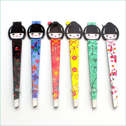 Wholesale Professional Hair Clips - Professional Beauty Japanese Doll Tweezers Eyebrow Hair Removal Stainless Steel Clips Tweezers Makeup Tool
