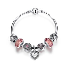 Simple Style Charm Armbänder mit Lake Orange Bubbles Murano Glasperlen Pink Pave Blooming Charms Herz baumelt Armreif Armbänder BL159 von Fabrikanten