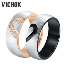 Wholesale Half Heart Stainless Steel - 316L Stainless Steel Couple Rings Half Heart Design Ring For Lover Women4mm & Men6mm Gift Statement Rings Fine Jewelry Free Shipping VICHOK