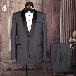 Wholesale Elegant Black Suits For Men - Wholesale-Elegant Wedding Suit For Mens 2016 New Style Men Black Blue Red Dark Gray Business Suit With Jacket And Pant Shawl Lapel Suits