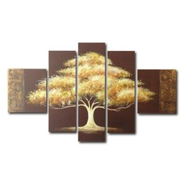 Wholesale Tree Picture Frames - Golden Tree Painting Canvas Wall Art Decor Modern Artwork Office Home Decoration Framed Painting Easy to Hang