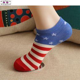Wholesale Fun Socks Men - Wholesale-1 Pair of 2016 New Socks Flag pattern women men ankle socks sports Unisex Cotton Blend Fun Socks