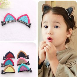 Wholesale Hair Jewelry Claw Clips - Cat Ears Kids Hair Clip Baby Girl Hair Jewelry Children Hair Accessories Barrette Birthday Gift Hair Claw Photography Prop 50 Pairs lot B009