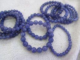 Wholesale Natural Blue Tanzanite - genuine Tanzanite round violet Natural Kyanite Gemstone Round Dark blue flashy Evil eyes Beads kyanite bracelet 6-12mm 8inch