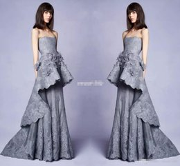 Wholesale Collar Embellishment - New 2018 Collection Long Grey Lace Evening Gowns With 3d Floral Embellishments Strapless Neckline Pageant Party Dress Gowns for Prom Mermaid