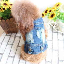 Wholesale Teddy Dog Clothes Summer Autumn - New Fashion cowboy pet vest puppy teddy jeans Personalized Dog Clothes spring and summer clothing free shipping