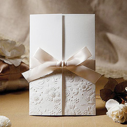 design house flowers 2018 - Elegant Wedding Invitations Cards 2016 New Arrival birthday invitation Card Flowers Design with Bow Cheap Free Shipping