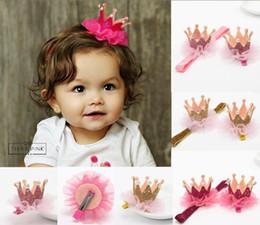 Wholesale Baby Girls Hair Clip - 0-3years Top Baby Kids Girls Shiny Crown Princess Hair Clip Elastic Lace Pearl Headband 20pcs