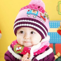 Wholesale Toddler Crochet Beanies Scarfs - 1-4T children winter wool Christmas Train Cap bib scarf 2 piece Toddler Girls Boys Beanie Hat 5 colors wholesale
