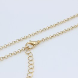 "Wholesale Copper Clasps Jewelry Making - Wholesale Gold Plated 2.5mm Curb Link O Chain Necklace with Lobster Clasp 18"" 20"" 22"" 24"" 26"" 28"" 30"" For Pendant Jewelry Making DIY"