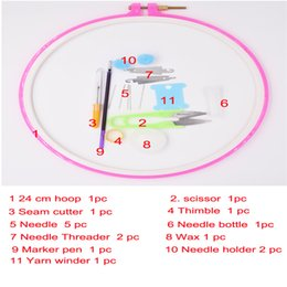 Wholesale Frames Cross Stitch - 24cm round frame for embroidery with necessare tools set for home diy patchwork as sewing tools as cross stitch hoops for sale