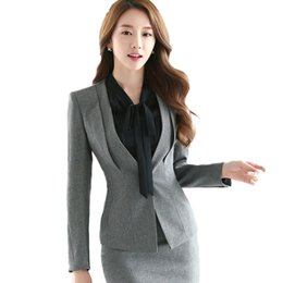 Wholesale Female Business Blazer - Plus Size Casual Slim Women Jacket Blazer 2017 New Autumn Winter Purple Female Business Suit Female Elegant Bleiser Mujer