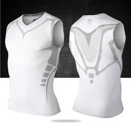Wholesale Nylon Spandex T Shirt - Wholesale-Mens Running Vest Compress Sleeveless T Shirt Spandex Fitness Athletic Gym Running Shirts