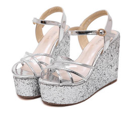 Wholesale Sexy Beige Platform Heels - Sexy Cross Tied Transparent Glitter Sequined Gold Silver Wedding Shoes Women High Heel Platform Wedge Sandals Size 34 To 39