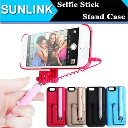 Wholesale Monopod Case - Selfie Stick Portable Extendable Monopod Wired Selfie Stick Case Cover for iPhone 6 6s Stand Holder Shell