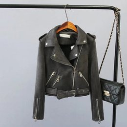 Wholesale Ladies Gray Leather Jacket - 2017 Lika Rulla Top Brand S-XL New Spring Fashion Bright Colors Suede Jacket Ladies Basic Street Women Short PU Leather Jacket