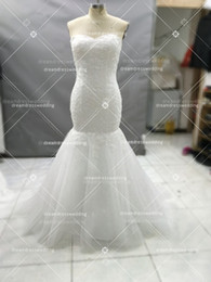 Wholesale Heart Printed Skirt - Real Shot Sweet Heart Collar Mermaid Wedding Dresses Lace Beaded Plus Size Train Cheap Custom Bridal Sexy Fish Tail Self-Cultivation Wedding