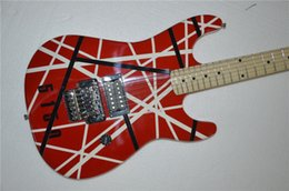 Wholesale Electric Guitar Black White - Free Shipping New guitarra TL OEM electric guitar clear color black and white and red stripes 5150guitarra   guitar China