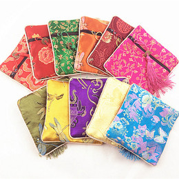 Wholesale Chinese Jewelry Pouches - Cheap Tassel Small Square Bags Chinese Silk Brocade Jewelry Zip Bags Coin Purse Bangle Bracelet Storage Pouch Wedding Party Favor 5pcs lot
