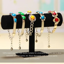 Wholesale Rings Display Black - Black Velvet Jewelry Display Organizer Stand Holder Packaging Bracelet Chain Watch Holder T Bar Rack