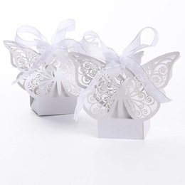 Wholesale Pink Ribbon Favors - 100pcs Butterfly Laser Cut Hollow Carriage Baby Shower Favors Boxes Gifts Candy Boxes Favor Holders With Ribbon white pink red color