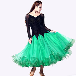 Wholesale Dance Costume For Jazz - 2016 Ballroom Dancing Dress Green Rose Blue Dress Ballroom Standard Dance Stage Costumes For Singers Jazz Tango Waltz Dresses
