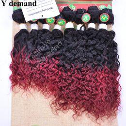Trames de cheveux bourgogne en Ligne-Trames de cheveux humains Omber Wave avec extensions de cheveux en vrac humain de fermeture 8pcs / lots Noir Bourgogne pour femmes