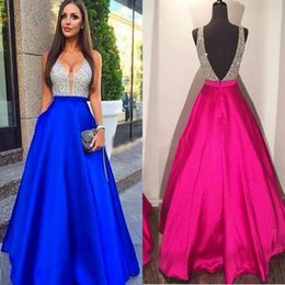 Wholesale Natural Red Coral Set - 2017 New Sexy Guest Dresses V-Neck Prom Dresses A-Line Beads Satin Backless Zipper Evening Dresses Custom Made With Free Necklace Set