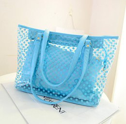 Wholesale Transparent Shopping Bags - Wholesale-2016 Women Handbags Summer Wave Point Candy Shoulder Bag Waterproof Casual Totes Bolas Female Transparent Bags Shopping Handbags