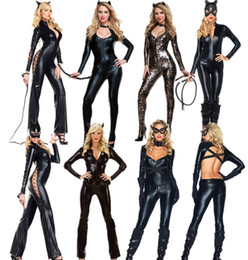 Wholesale Cosplay Costumes Fetish - Halloween Dress Sexy wild cat Siamese cat girl bronzing Cosplay black Catwoman Costume Party dress PVC Fetish Clubwear