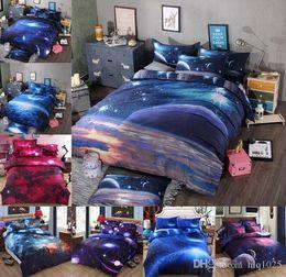 blaue krippe bettwäsche-sets Rabatt Bettwäschesätze der Galaxie 3d Universum-Weltraum-Themed Bettdecke 4pcs Bettwäsche-Bettlaken-Bettbezug-Satz geben Verschiffen frei