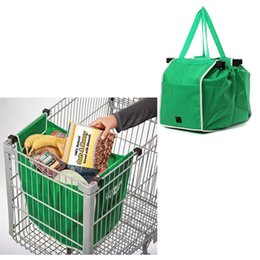 Wholesale fabric carts - Grocery Grab Bag Clip-to-Cart Shopping Bag Foldable Tote Eco-friendly Reusable Large Trolley Supermarket Large Capacity Bags