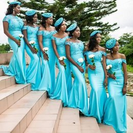Wholesale Wedding Gown Long Sleeve Silk - Nigeria Girls Off Shoulder Bridesmaid Dresses 2017 Sexy Mermaid Appliques Cap Sleeves Long Maid of Honor Bridesmaid Wedding Guest Gowns