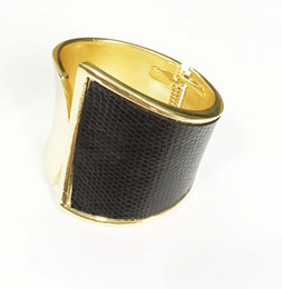 Wholesale Hinged Bracelets - Classic gold black leather two tone hinge bracelet one side shinny smooth lead and cadmium free