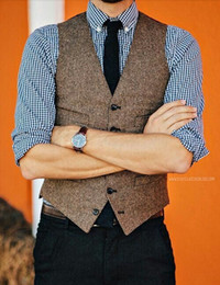 Smoking marrone formale online-2019 British Style Vintage Brown Wool Tweed Grooms Gilet formale Groom's Wear Suit Gilet da uomo Smoking da sposa Gilet Plus Size (Gilet + cravatta)